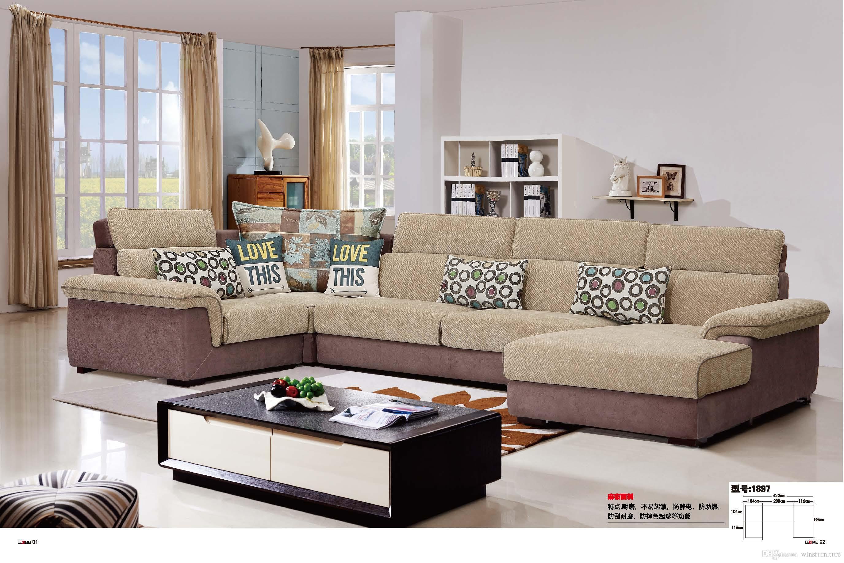 Compre sof moderno de tela de sala de estar en forma de u for Muebles industriales sala de estar