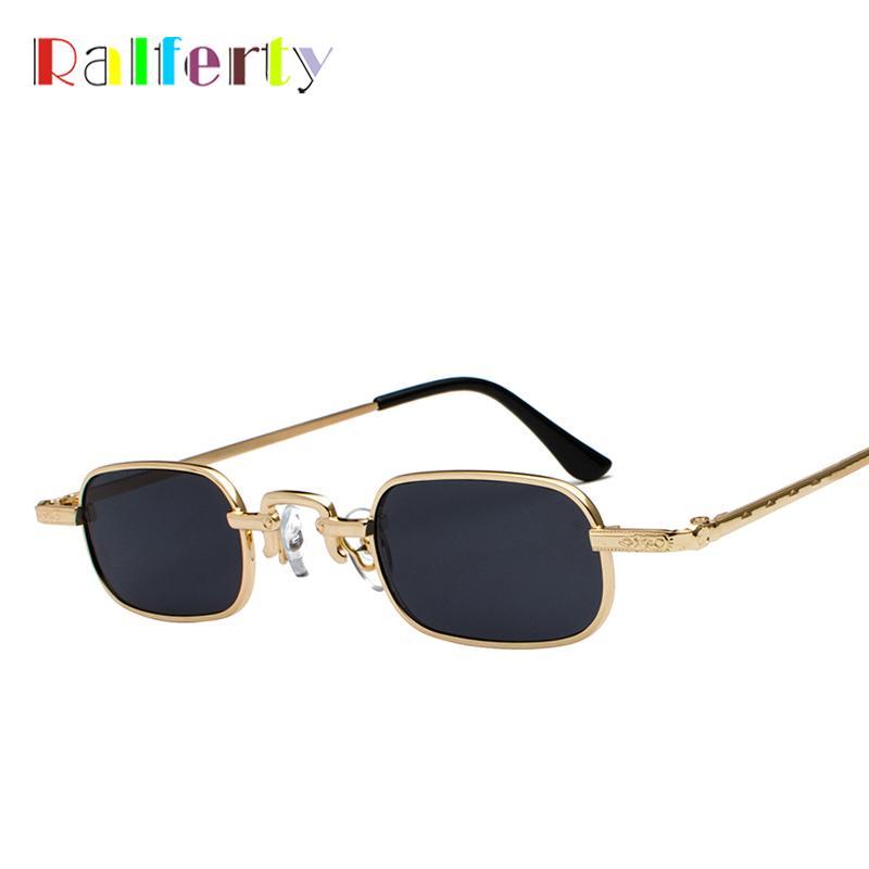 Compre Ralferty Retro Quadrado Óculos De Sol Das Mulheres Pequeno Ouro Preto  Óculos De Sol Para Homens UV400 Vintage Sunglases 90 S Mini Eyewear J3386  De ... b9ae428eea
