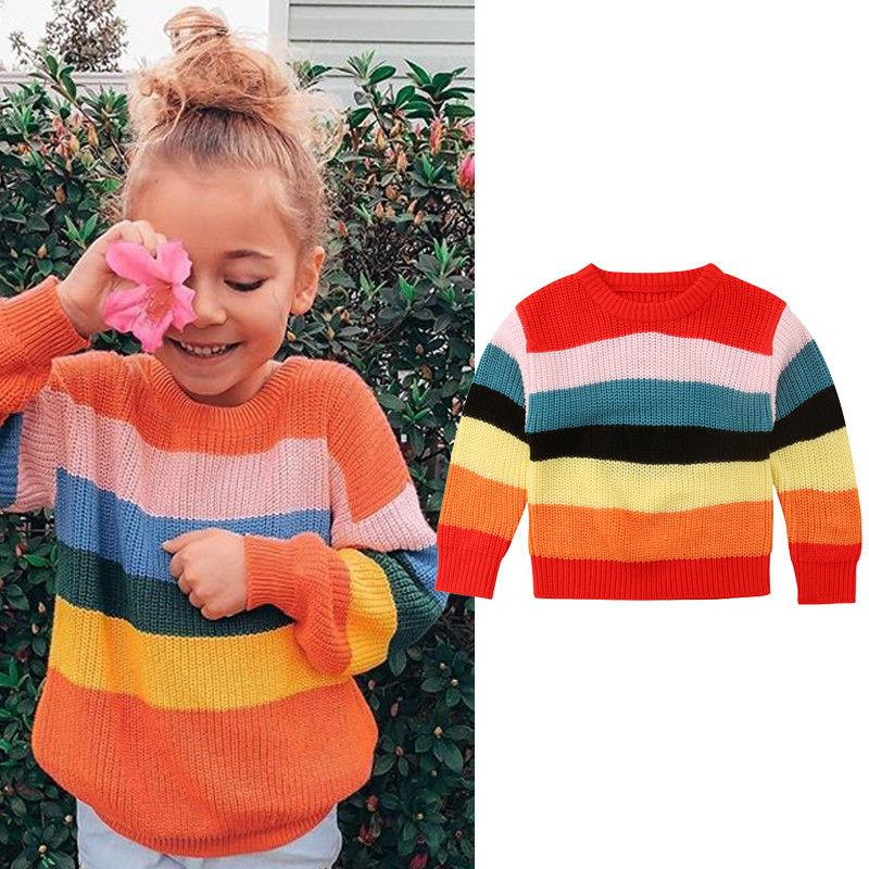 964c16b25c2e Autumn Winter Sweet Pretty Toddler Baby Girls Sweater Long Sleeve Rainbow Striped  Pullover Knit Sweater Tops Outfit 1 6Y Free Knitting Patterns Girls ...