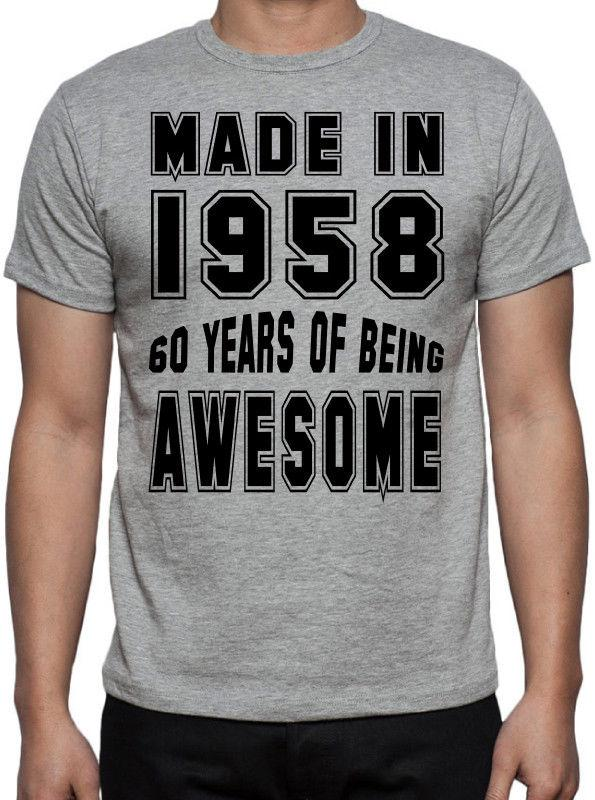 60th Birthday 60 Years Of Being Awesome Party Gift Present 1958 Grey T Shirt Random Graphic Tees Quirky Designs From Populartees 1101