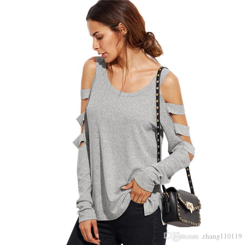 bd71af6215762e Tshirts Grey T Shirt Women Long Sleeve Cold Shoulder Tops Autumn Loose Tees  Sexy Ladies Round Neck Cut Out T Shirt Unique T Shirts For Sale Design 1 T  Shirt ...