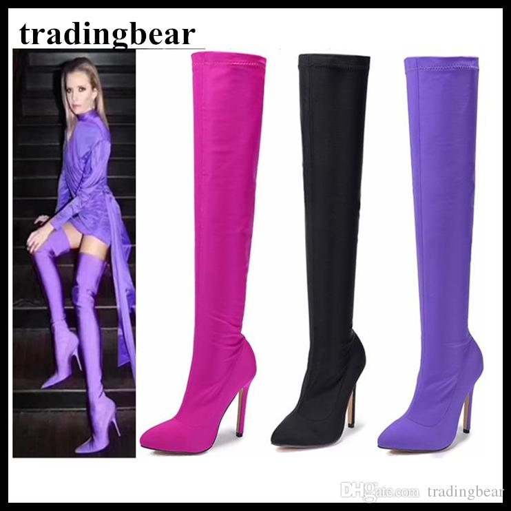 507f9945116 Sexy Purple Pointy Toe Thigh High Heel Boots Over The Knee Lycra Black Pink  Size 35 To 40