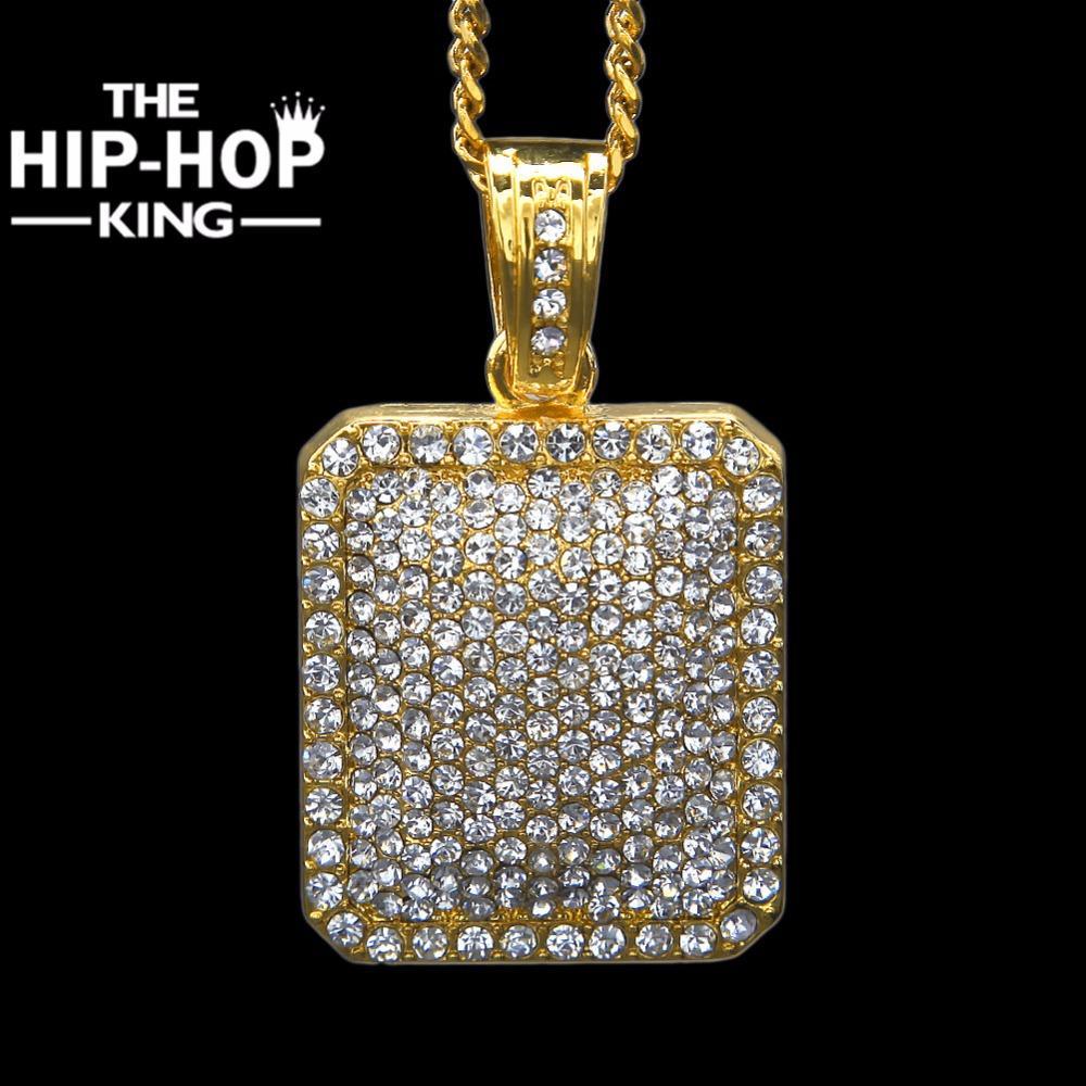 bf7aa7184564 Compre Hombre Lleno Helado CZ Oro Plata Color Cuadrado Etiqueta De Perro  Colgante 5 Mm   30      3 Mm   24 Cadena Cubana Hip Hop Blingbling Collar A   38.78 ...