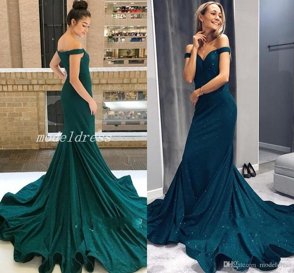 f3b72003f079 Hunter Green Elegant Mermaid Prom Dresses 2019 Off Shoulder Sweep Train  Long Formal Evening Party Gowns Special Occasion Dress Plus Size Xscape Prom  Dresses ...