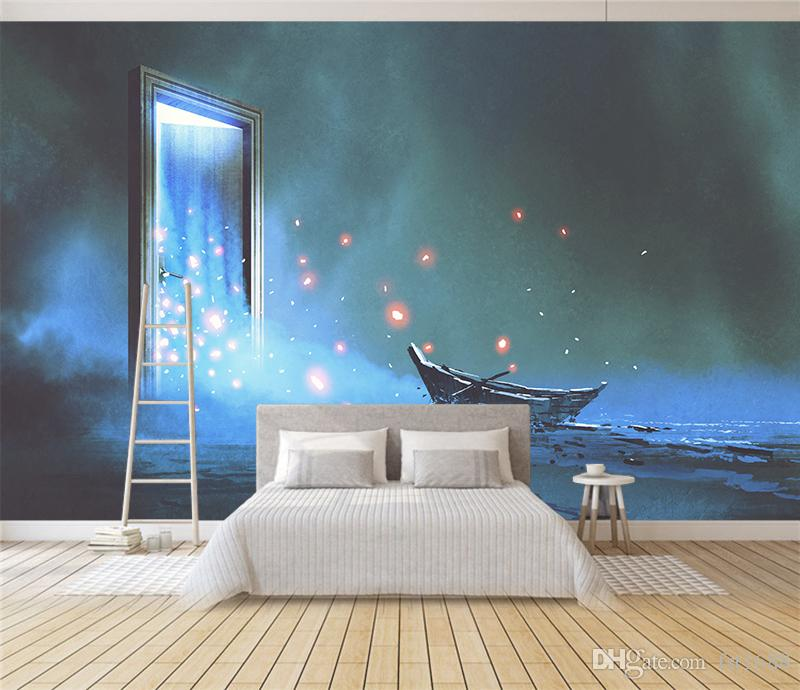 Customized 3D Dream Wallpaper Kids' Room Sofa Bedroom Background Wall Mural Cartoon Canoe Doors Dreams Living Room Home Decorative