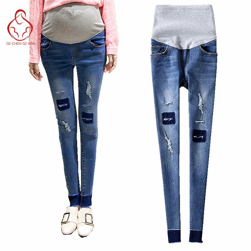 cacfb81ac6a951 2019 2017 Spring New Jeans Pregnant Woman Slim Fashion Hole Maternity Pants  Maternity Clothing Jeans Pregnant Clothing From Rainbowny, $27.73    DHgate.Com
