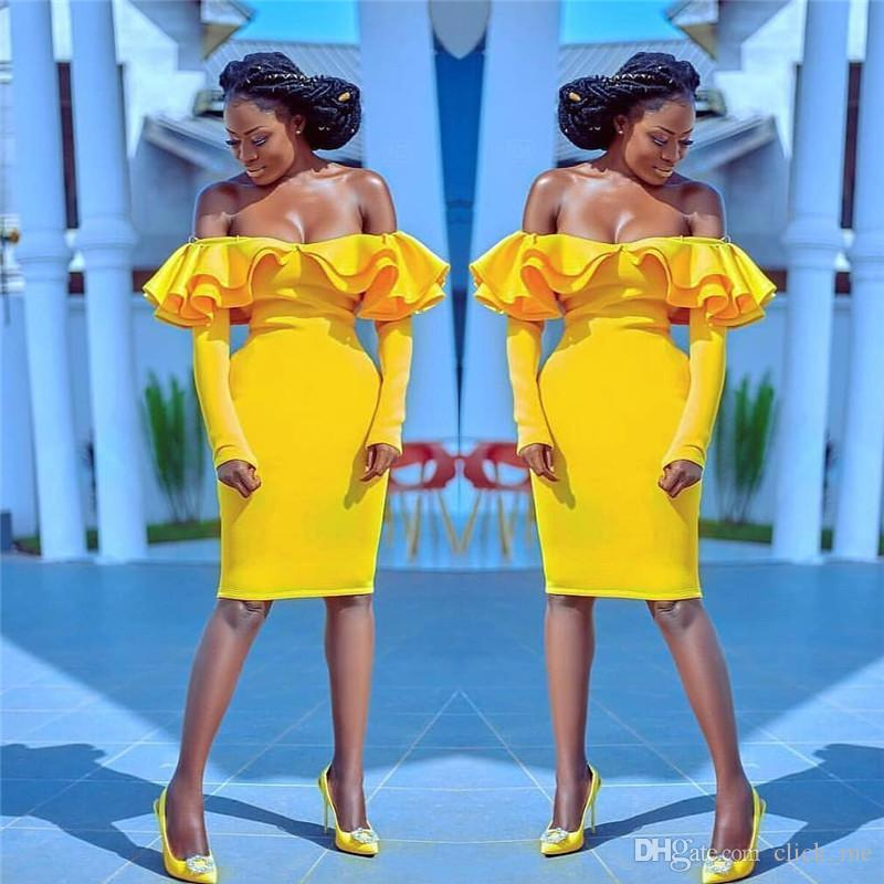 a2cc8ff07cfb Off Shoulder Cocktail Party Dresses Ruffles Yellow Cheap Knee Length  African Long Sleeves Mermaid Homecoming Dress Satin Short Prom Dress Buy Party  Dress ...