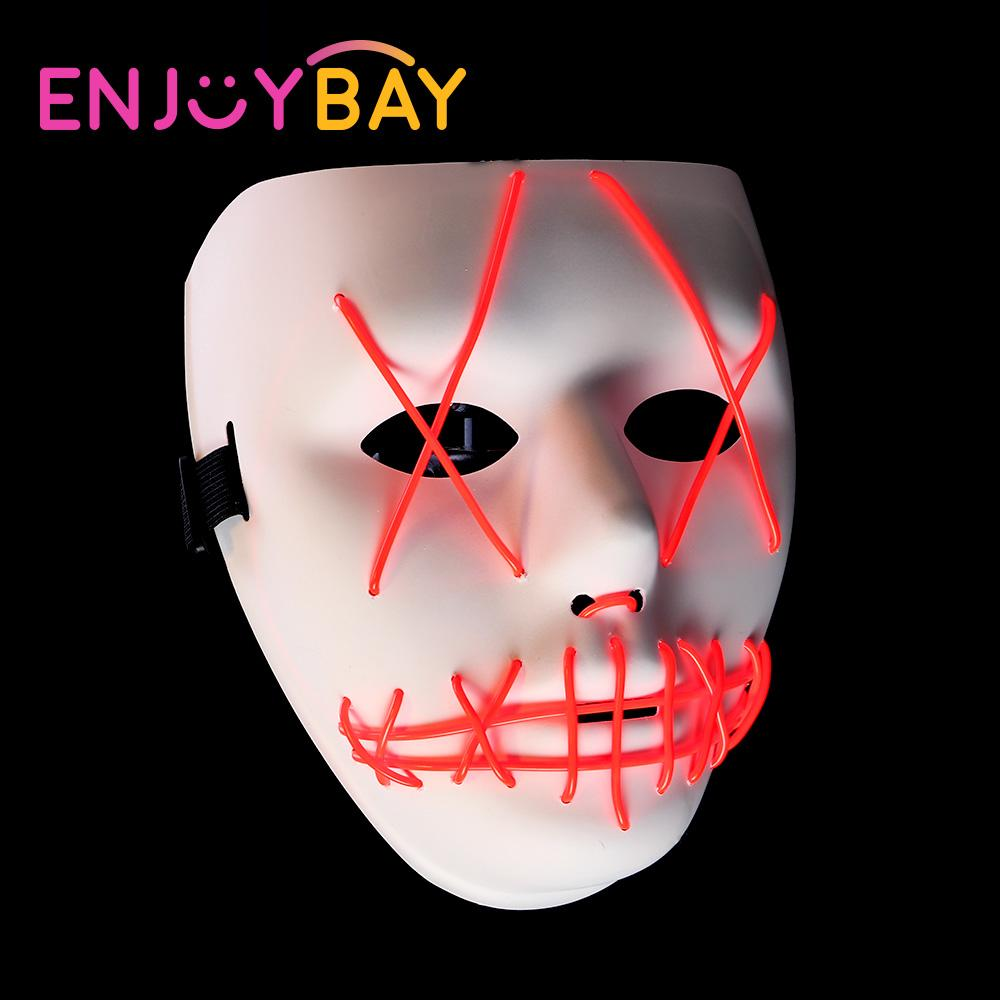 2018 glowing halloween mask scary led light up masks cold light