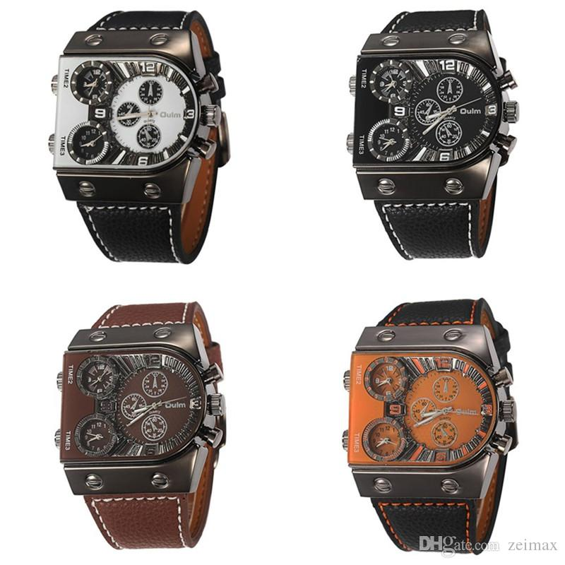 2018 OULM Brand Watches Men Army Military Dual Time Movement Mens Leather Starp Quartz Wrist Watch relogio masculino
