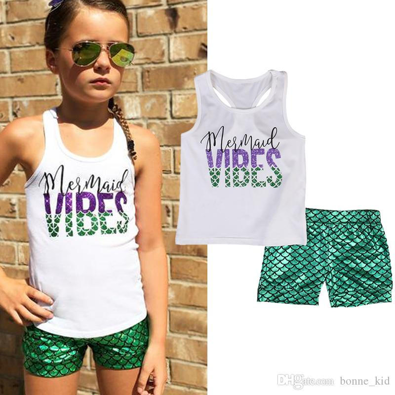 bfce51c32630 2019 2018 Kids Baby Girl LLetter Print Mermaid Top Vest +Green ...