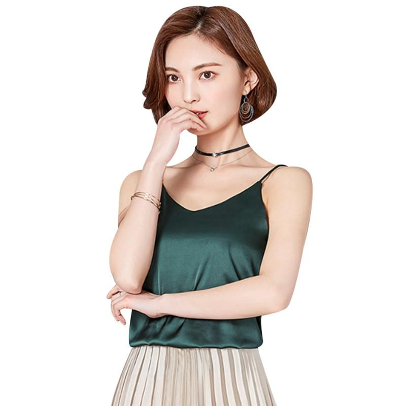 d2168d7698 2019 Silk Tank Tops For Women 2018 Sexy Summer Spaghetti Strap Shirt V Neck  Satin Cami Top Backless Singlet Undershirt Camisole Femme From Meicloth