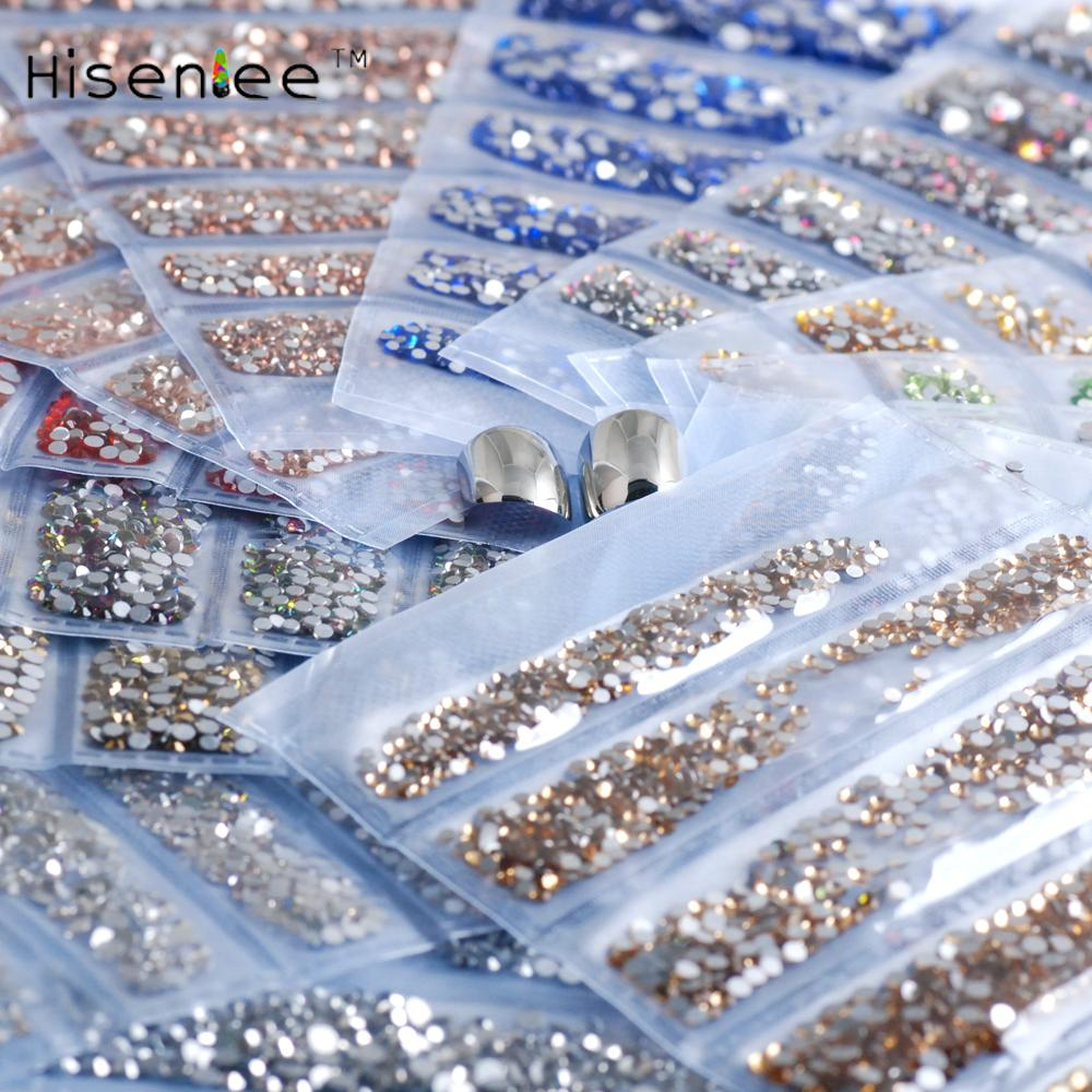 Top quality fashion rhinestones 28 colors 1680 mixed 6 size ss3-ss10 flat back glass stone shiny gem DIY nail art decoration