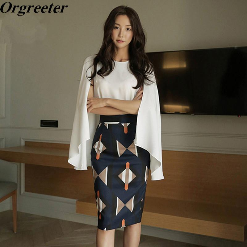 64abd6c1a1b Korean New 2018 Summer Office Work Eleladies outfit Women s White Cloak  Sleeves Shirt and Print Bodycon Skirt 2 Piece Set