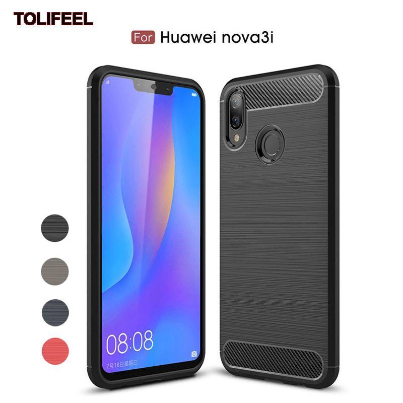 new style ce84d 7c87a For Huawei Nova 3i Nova3i 6.3Inch Luxury Carbon Fiber Cases Soft Silicone  TPU Full Protective Back Phone Cover