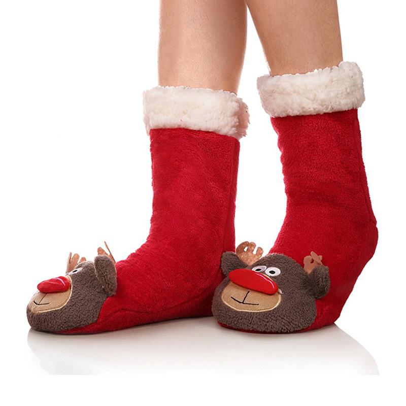 2b13cd9c349 2018 2018 new christmas socks 3d animals long floor socks home slipper women  winter warm fuzzy