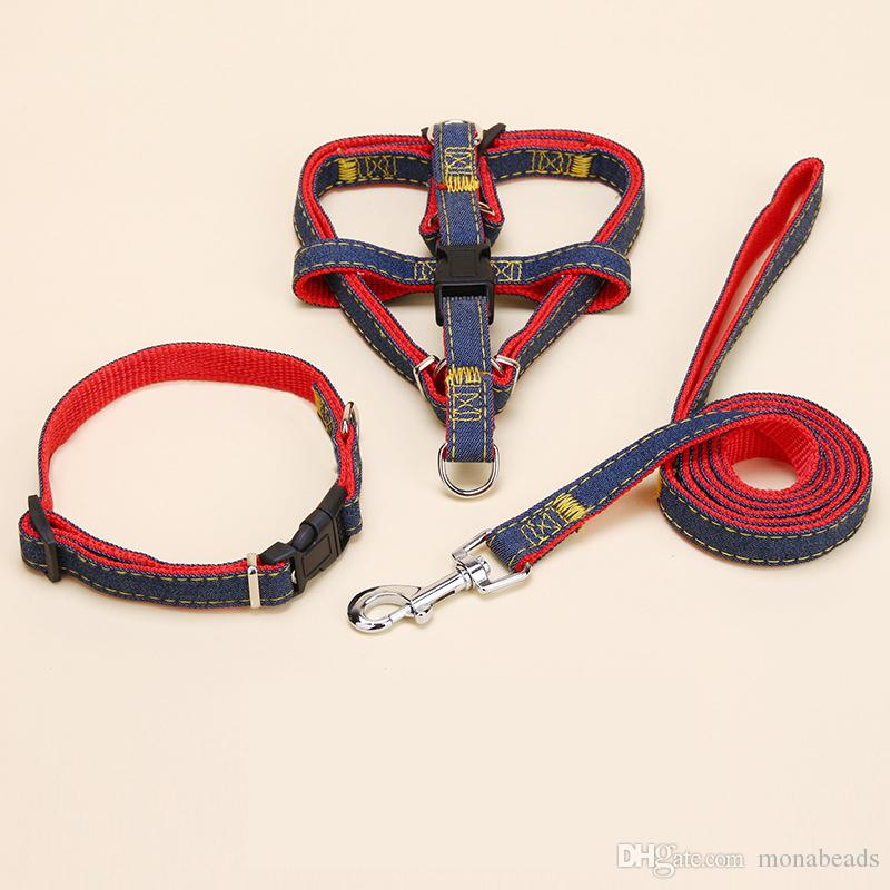 No-Pull Adjustable Denim Dog Harnesses Leash Collar for Training Walking Running Rescue Harness For Small Medium Large Dogs