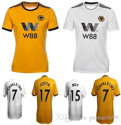 94c10c773 2019 18 19 Wolverhampton Wanderers Soccer Jersey Home Yellow Jota Away White  Leo 2018 2019 Cavaleiro Costa Boly Football Shirts Top Quality From  Pursue6699