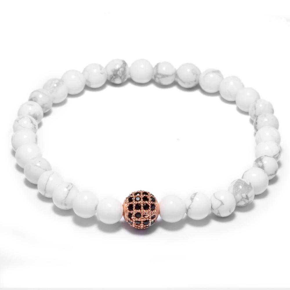 White Natural Stone Shambhala Zirconia Braclets Couple Distance Beads Bracelet For Girl Boy Lovers Gift Jewelry