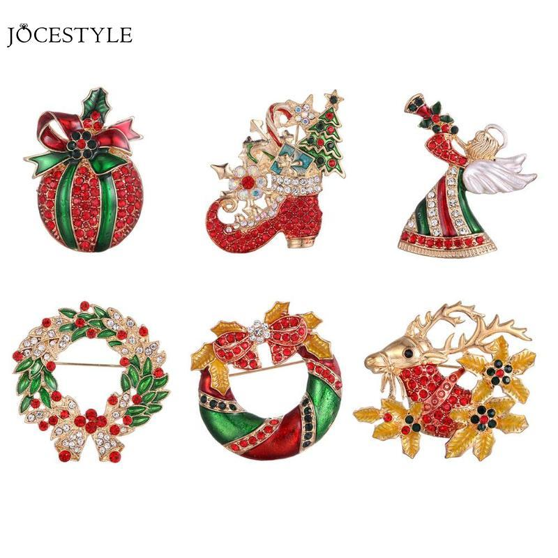 d3c7deb35459b Creative Christmas Decor Women Christmas Drip Rhinestone Brooch Xmas Party  Decor Breast Pin Jewelry Gifts