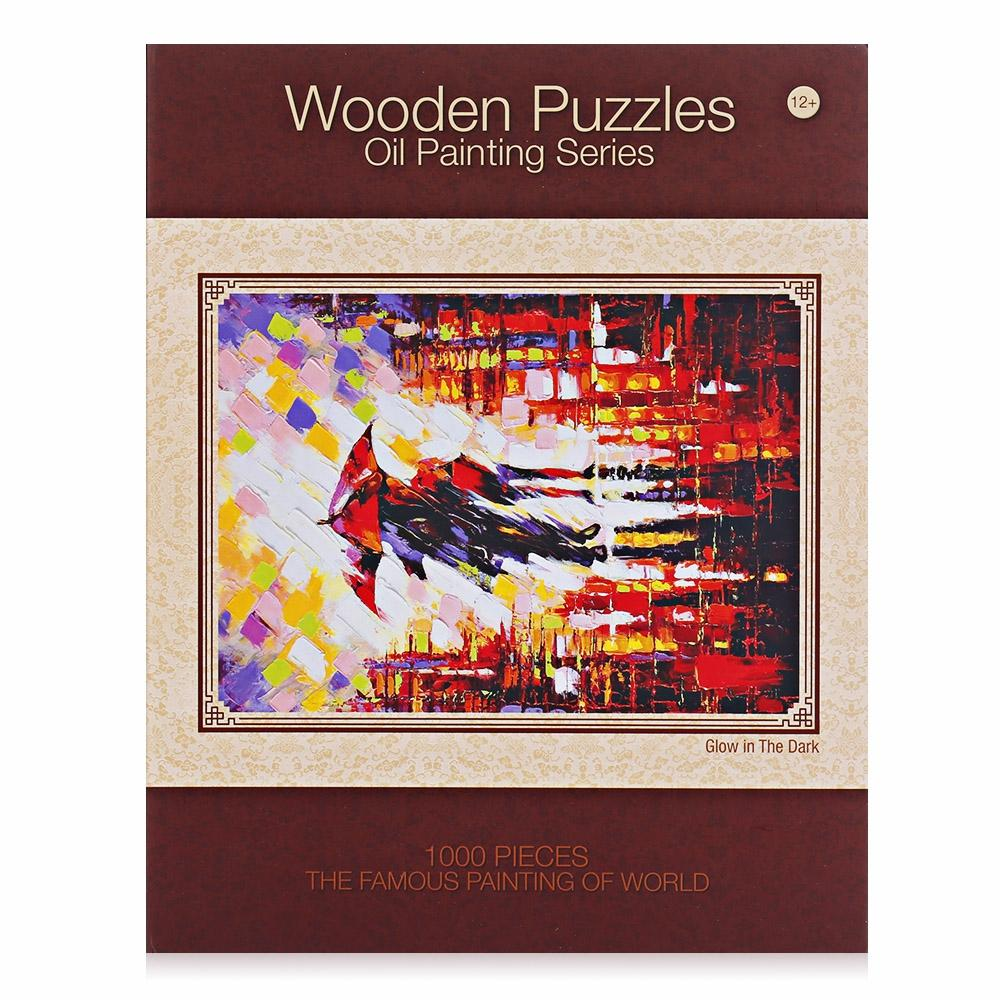 Luminous Wooden Puzzles Oil Painting Series Rainy Scene Educational Toys DIY Diamond Painting Crystal Cross Stitch Colorful Oil Pain