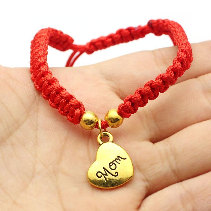 Je t'aime maman fil rouge bracelets bijoux chanceux pour mun bracelets breloque fête des mères cadeau famille bénit bracelete feminino 2018