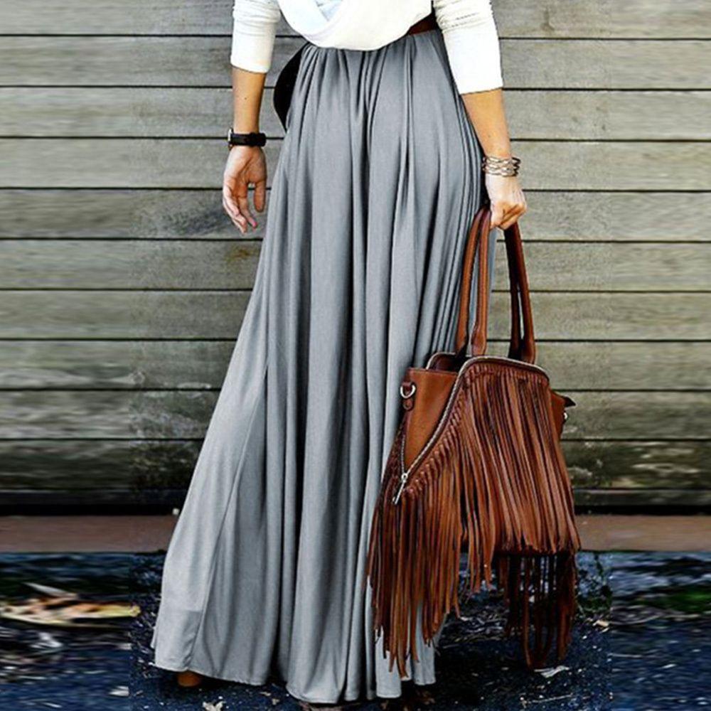 241e3ece5 Faldas largas para mujer Ropa de verano Gris Rojo oscuro Naranja Caqui  Falda ocasional de las mujeres Boho de cintura alta Maxi falda larga  plisada ...