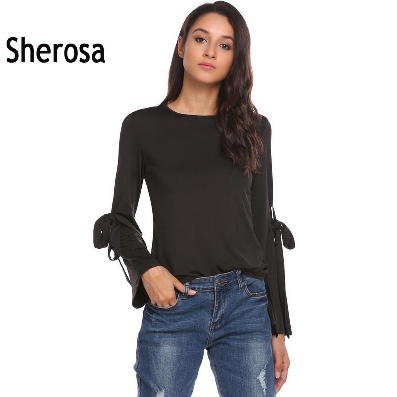 e9b3dee8a0f 2019 Sherosa Women Casual Flare Long Sleeve Blouse Arm Belt Lace Up Top  Pink Black Blusas Plus Size Women Clothing Formal Blouses From Amandal