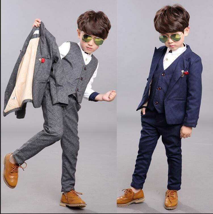 9453c6c8a7bb8 Satın Al Erkek Çocuklar Için 3 ADET Blazers Erkek Takım Elbise Düğün Tören  Resmi Bahar Sonbahar Gri / Mavi Elbise Düğün Erkek Takımları, $36.18 |  DHgate.