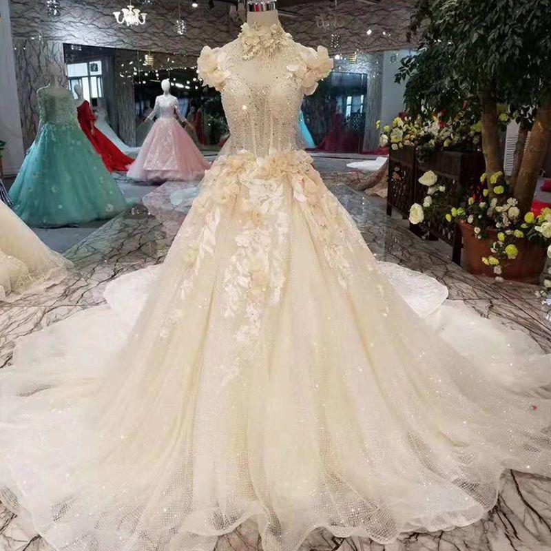 Discount Petal Flowers Wedding Dresses Princess Style High Neck Cap Sleeves  Elegant Bride Dresses Long Train 2019 Latest New Design Colored Wedding  Dresses ... 37a023bfd9df