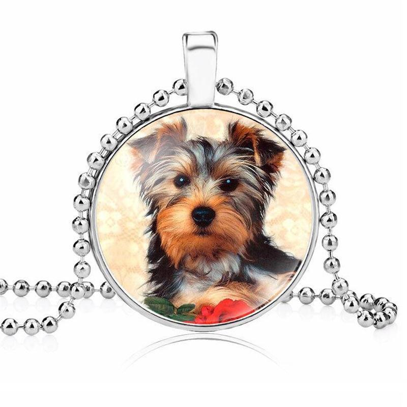 Cibotium Touro Cão Foto Colar De Vidro Cabochão Colar Pet Dog Pingente de Colar de Jóias Para O Proprietário Do Animal de Estimação presente
