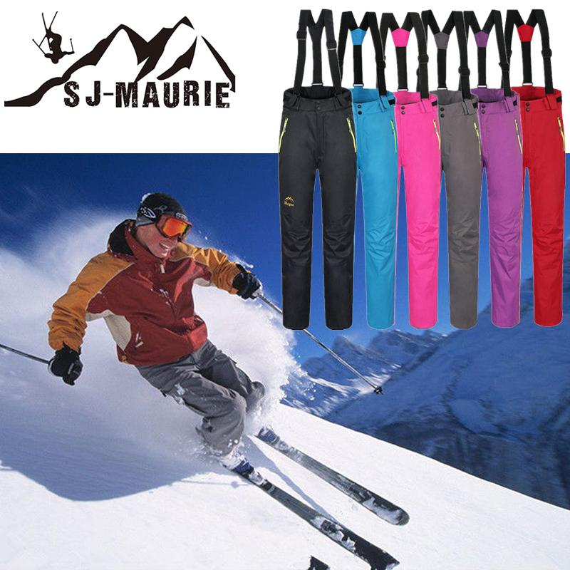 f923c8c320a 6 Colors Women Outdoor Snowboard Skiing Pants Waterproof Sports Suspenders  Pants Plus size Solid Snow Trousers