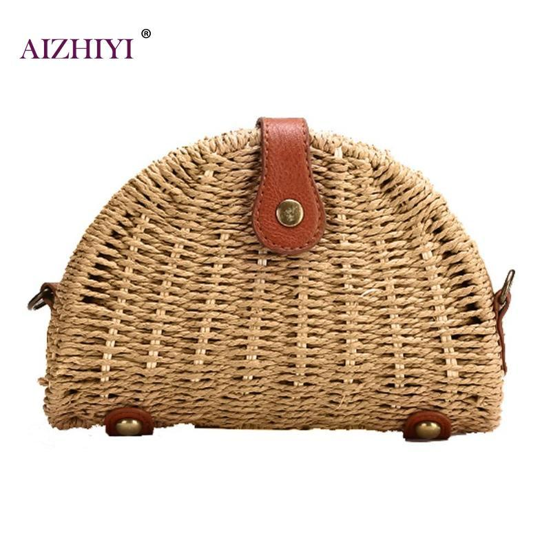 b5600636abd2 Women Shell Rattan Straw Shoulder Bag Vintage Fashion Handbags Summer  Travel Beach Messenger Crossbody Bag Fashion Handbag Crossbody Bags for  Women Brand ...