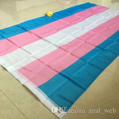 Drapeau transgenre 3x5 pieds drapeaux arc-en-ciel rose bleu fierté de bannière LGBT drapeaux polyester toile en-tête et double couture