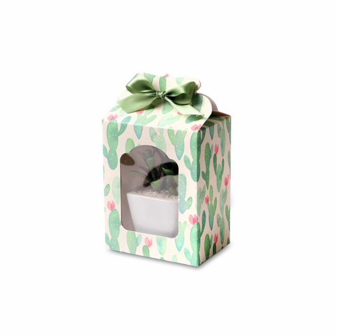 cute cactus Paper Box white Wedding favor Christmas decoration Birthday Cookie Candy Chocolate Macaron packaging cake