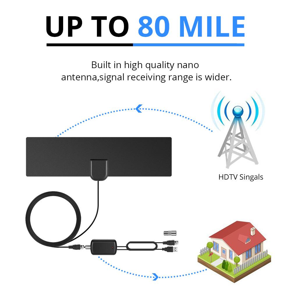 Indoor TV Antenna 1080P 80Mile Range HDTV Antenna Coaxial Euro Adapter With  Signal Amplifier Booster Black Color Tv Antenna Amplifier Uhf Antenna From  ...