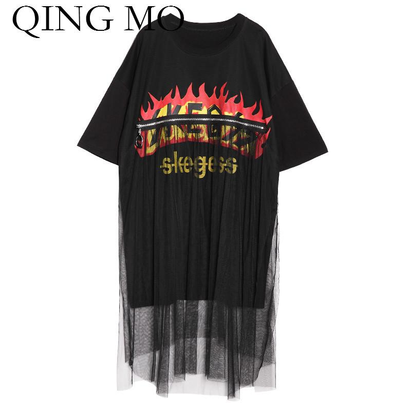 QING MO Big Size Clothing for Women 2018 Summer Tops & Tees Lace Patchwork Leers Print Shirt Short Sleeve Black T Shirt ADQ201
