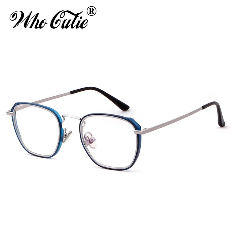 20a8840c828 WHO CUTIE 2018 Square Blue Blocking Glasses Frame Men Women Fake ...