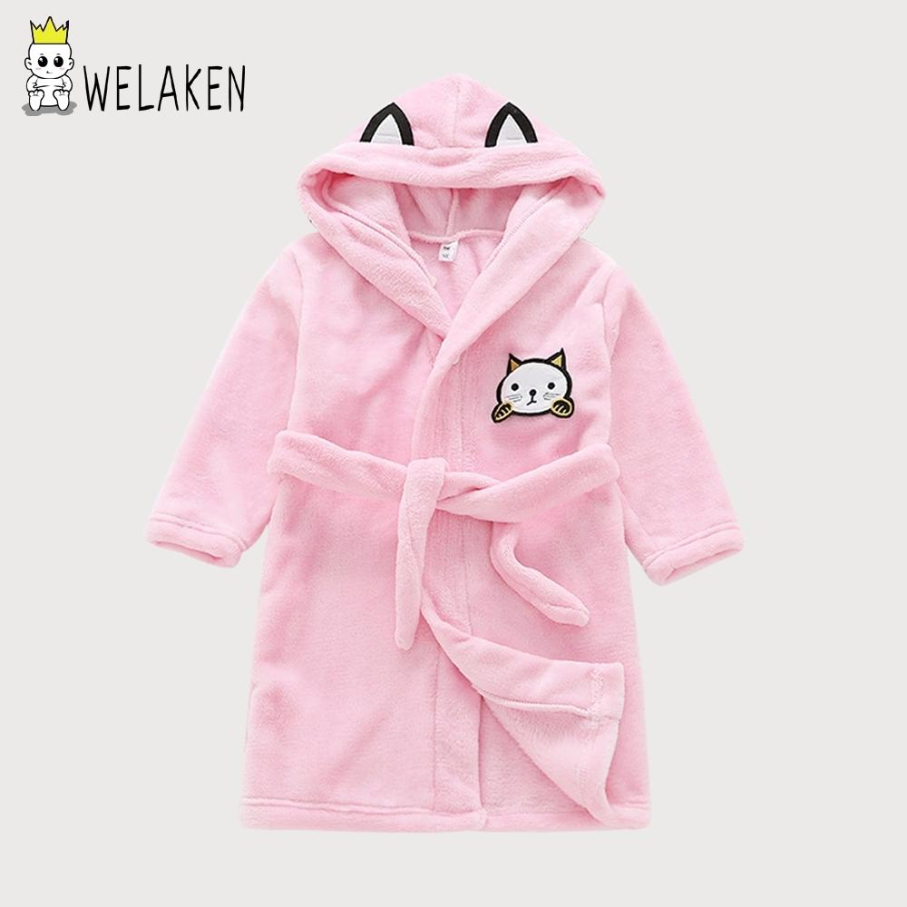 c00f3ad4a628 WeLaken 2018 New Hot Children Robes Cartoon Cute Cat Kids Boys Girls ...