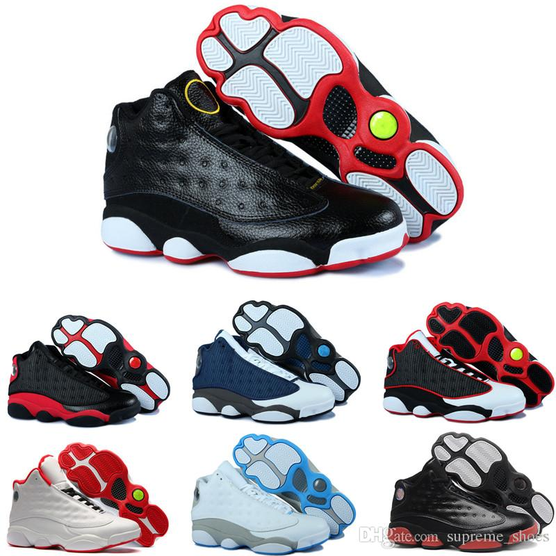 e048b771b0c979 2019 Cheap 2018 High Quality Shoes 13 XIII 13s Men Basketball Shoes Women Bred  Black Brown White Hologram Flints Grey Sports Sneakers From Supreme shoes