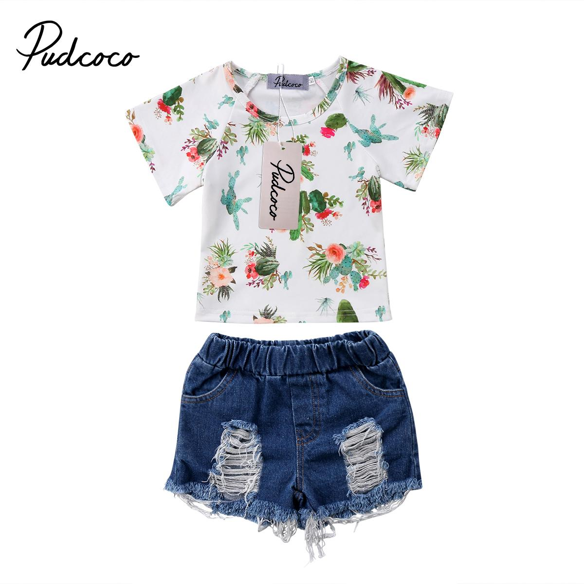 aa2418385 2019 Cool Kids Baby Girls Floral Clothes Set Cactus Print Short Sleeve T  Shirt Top Short Denim Jean Pants Summer Outfits Suit 2018 From Paradise13,  ...