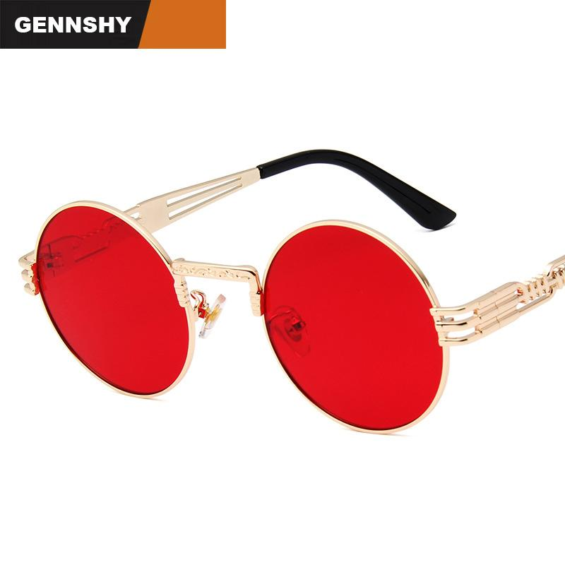 1e9758bc44c9 2018 Newest Steampunk Sunglasses Women Vintage Small Round Sunglasses  Unique High Quality Metal Gold Frame Red Lenses Police Sunglasses Serengeti  Sunglasses ...
