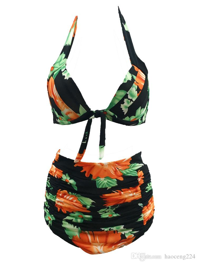 Blumendruck Bikini Zwei Stücke Badeanzüge Bikini Set Sexy Halter Bademode Hohe Taille Verband Plus Size Sommer Strand Badeanzug