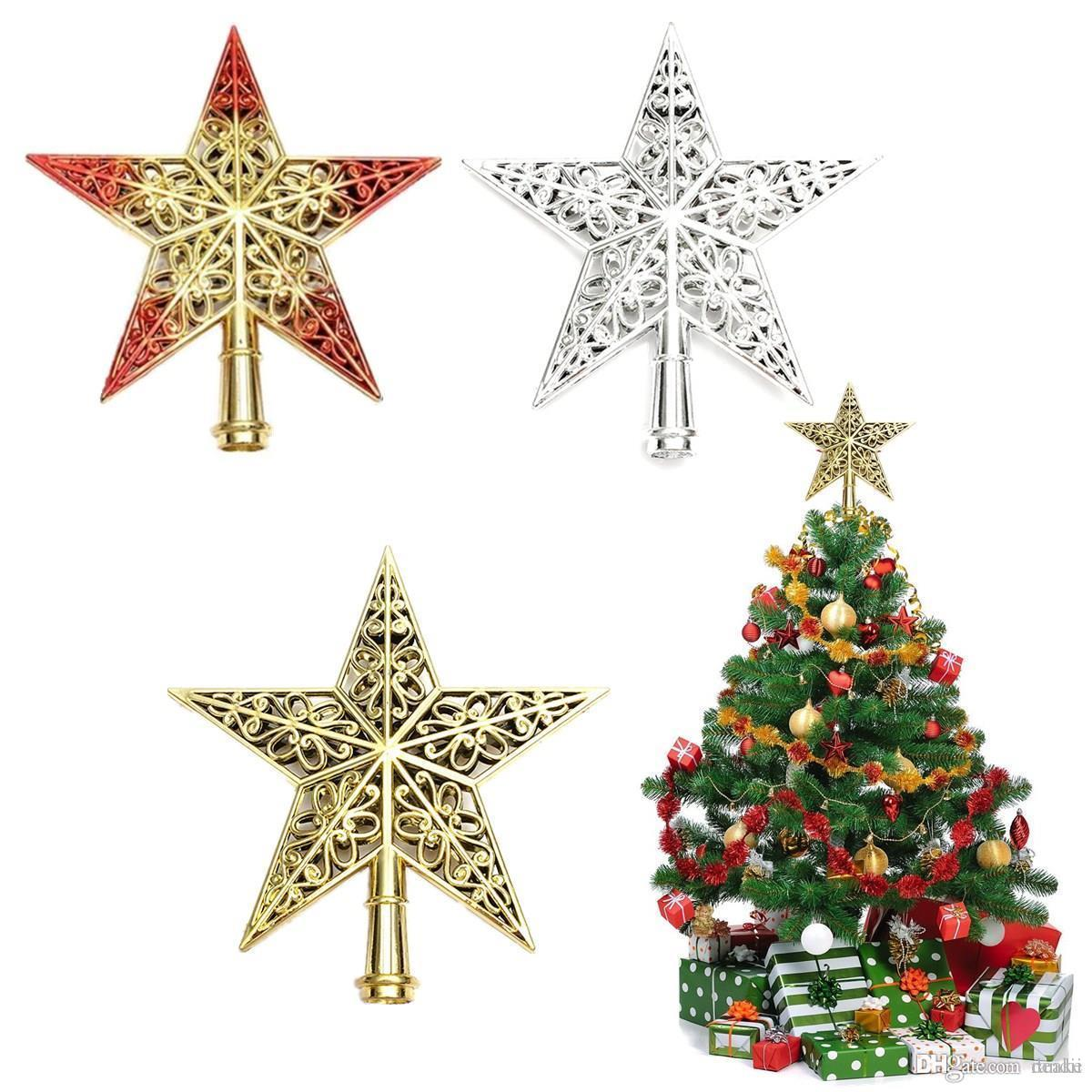wholesale lovely shiny xmas decorative christmas star tree topper table top ornament xmas tree top decoration star topper for new year best christmas decor