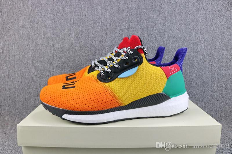 wholesale dealer 99d84 05fd8 Human Race Glide ST Pharrell x Solar Hu Casual Running Shoes pharrell  williams Hu trail Cream Core Black Equality trainers Sports sneakers