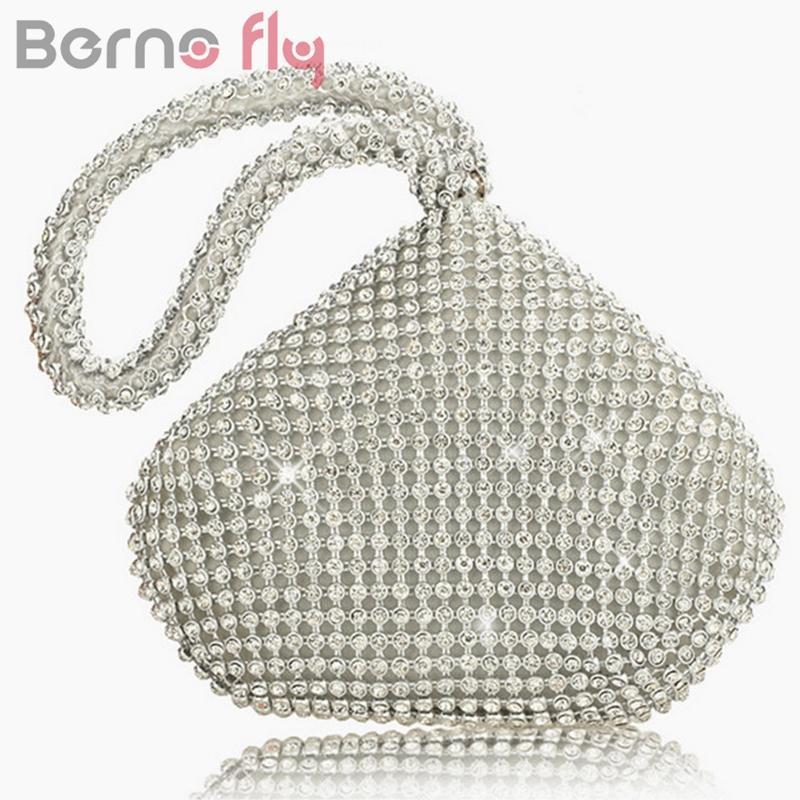 a4ec9730fe75 Berno Fly Rhinestones Women Clutch Bags Diamonds Finger Ring Ladies ...