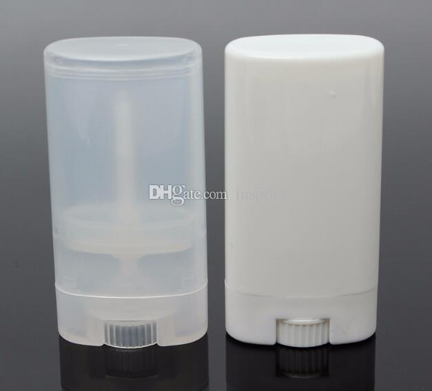 15g Plastic Empty DIY Oval Lip Balm Tubes Portable Deodorant Containers Clear White Lipstick Fashion Cool Lip Tubes