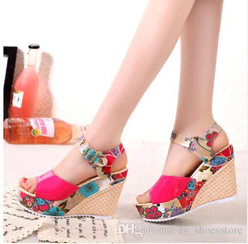 b3cb3f94c8fa 2018 Women Sandals Summer Platform Wedges Casual Shoes Woman Floral ...