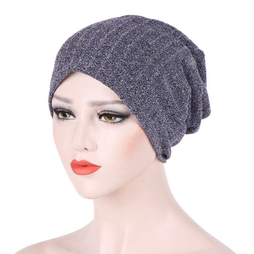 Hats Women India Muslim Stretch Turban Hat Hair Pure Color Loss Head Scarf  Wrap Multiple Colour Winter Hats For Womens Mujer UK 2019 From Longanguo cc3e42b365