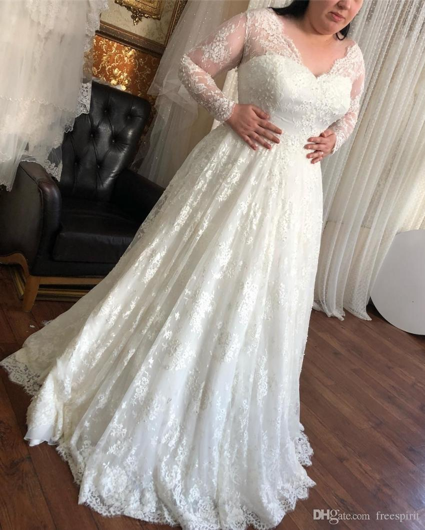 f2243074653 Empire Waist Lace Wedding Dress With Illusion Long Sleeves V Neck A Line  Bridal Gown Ivory Sweep Train Customize Greek Style Wedding Dresses Long  Dress For ...