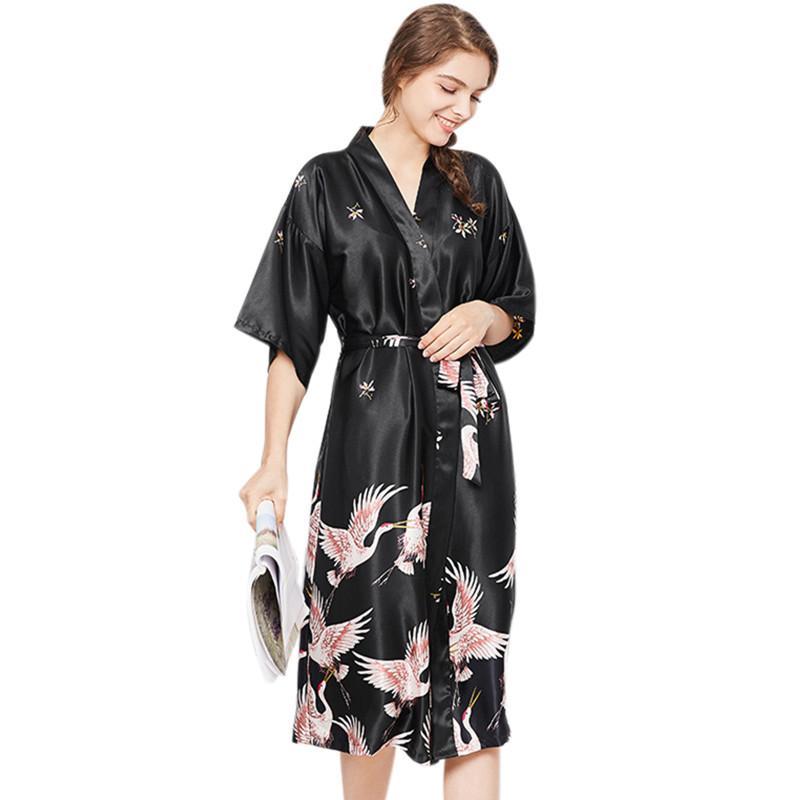 40f0463e76 Women s Nightywear Printed Dressing Gown Robes Sleepwear Casual Home Black Robe  Warm Dress Azul Vestido Seda Sleep Tops Cheap Sleep Tops Women s Nightywear  ...